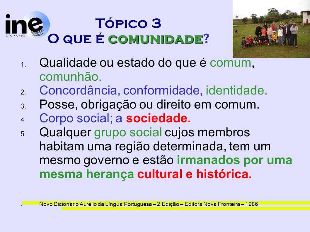 comunidade Tópico 3 O que é comunidade? 1. Qualidade ou estado do que é comum, comunhão. 2. Concordância, conformidade, identidade. 3. Posse, obrigaçã