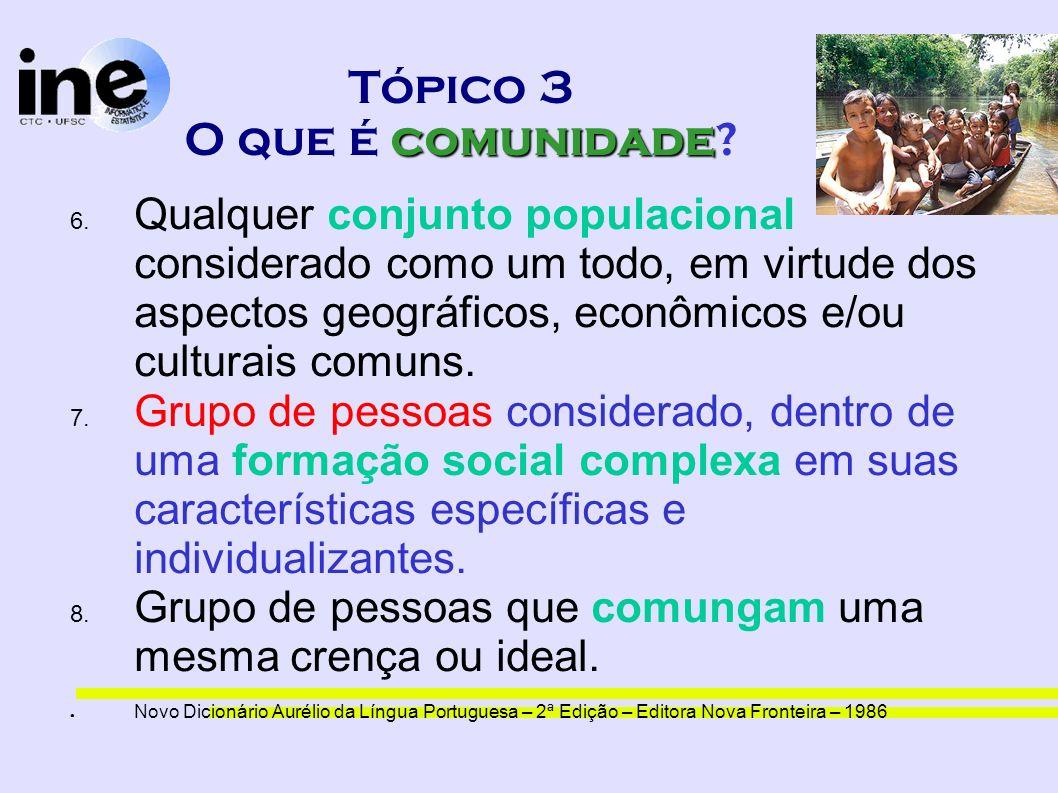 comunidade Tópico 3 O que é comunidade? 6. Qualquer conjunto populacional considerado como um todo, em virtude dos aspectos geográficos, econômicos e/