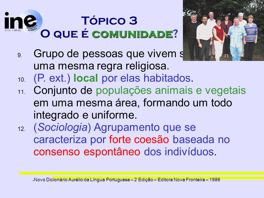 comunidade Tópico 3 O que é comunidade? 9. Grupo de pessoas que vivem submetidas a uma mesma regra religiosa. 10. (P. ext.) local por elas habitados.