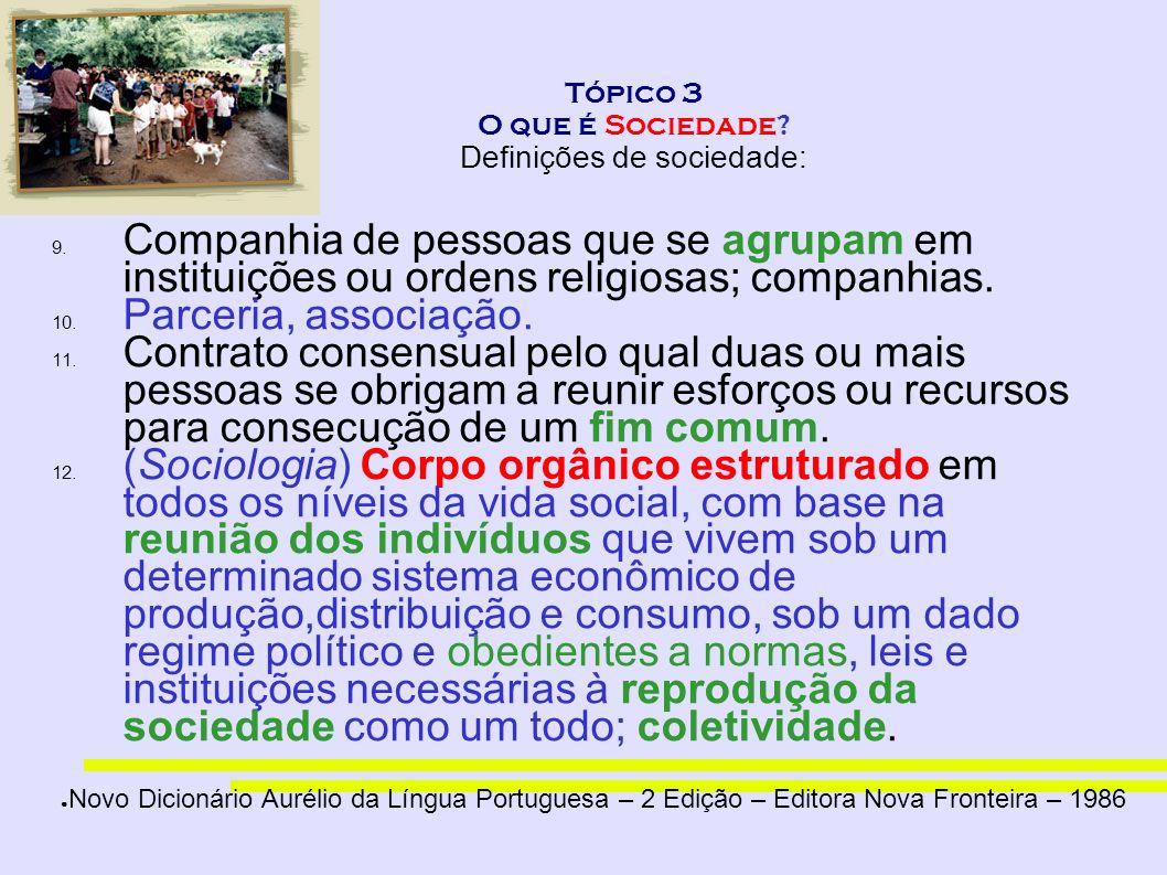 Tópico 3 O que é Sociedade? Definições de sociedade: 9. Companhia de pessoas que se agrupam em instituições ou ordens religiosas; companhias. 10. Parc