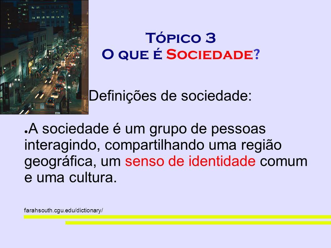 Tópico 3 O que é Sociedade? Definições de sociedade: A sociedade é um grupo de pessoas interagindo, compartilhando uma região geográfica, um senso de