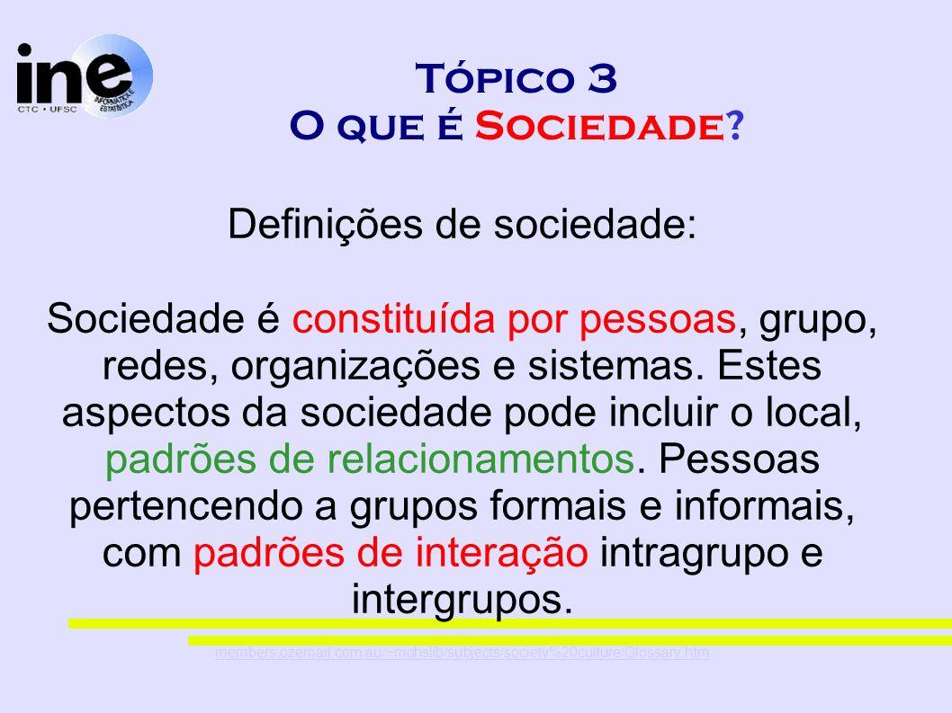 Tópico 3 O que é Sociedade? Definições de sociedade: Sociedade é constituída por pessoas, grupo, redes, organizações e sistemas. Estes aspectos da soc