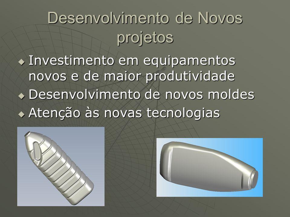 Desenvolvimento de Novos projetos Investimento em equipamentos novos e de maior produtividade Investimento em equipamentos novos e de maior produtividade Desenvolvimento de novos moldes Desenvolvimento de novos moldes Atenção às novas tecnologias Atenção às novas tecnologias