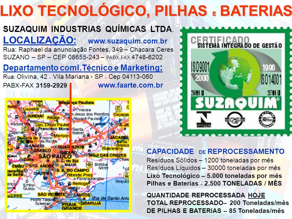 DISPOSIÇÃO LIXO TECNOLÓGICO, PILHAS E BATERIAS SUZAQUIM INDUSTRIAS QUÍMICAS LTDA. LOCALIZAÇÃO: www.suzaquim.com.br Rua: Raphael da anunciação Fontes,