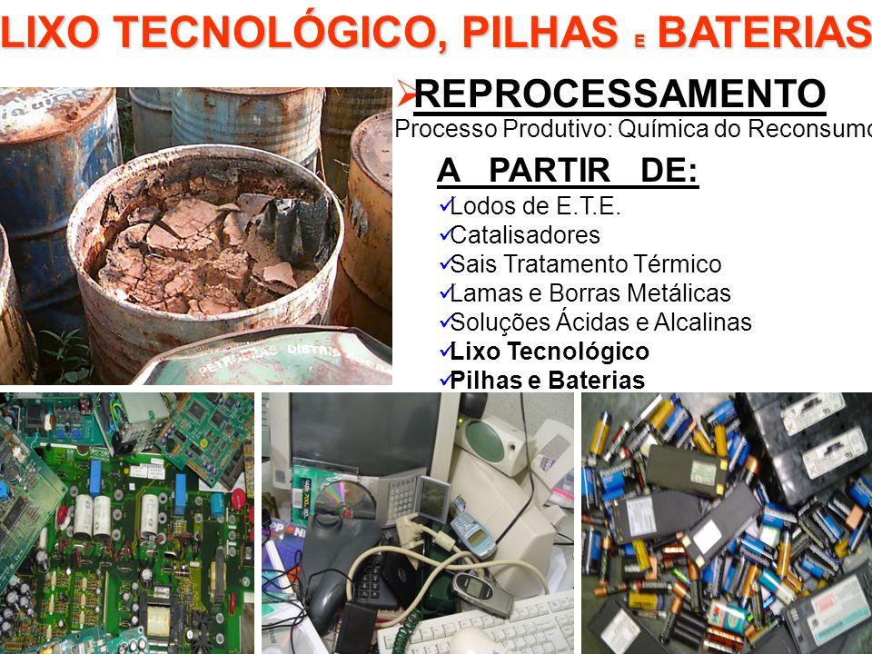 LIXO TECNOLÓGICO, PILHAS E BATERIAS REPROCESSAMENTO Processo Produtivo: Química do Reconsumo A PARTIR DE: Lodos de E.T.E. Catalisadores Sais Tratament