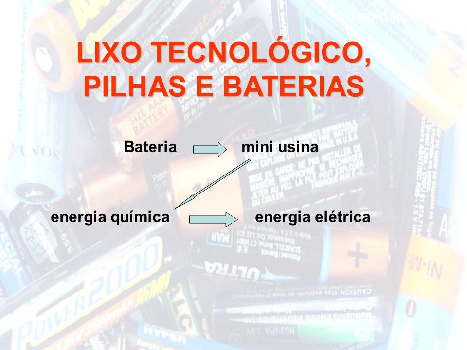 Bateria mini usina energia química energia elétrica LIXO TECNOLÓGICO, PILHAS E BATERIAS DISPOSIÇÃO