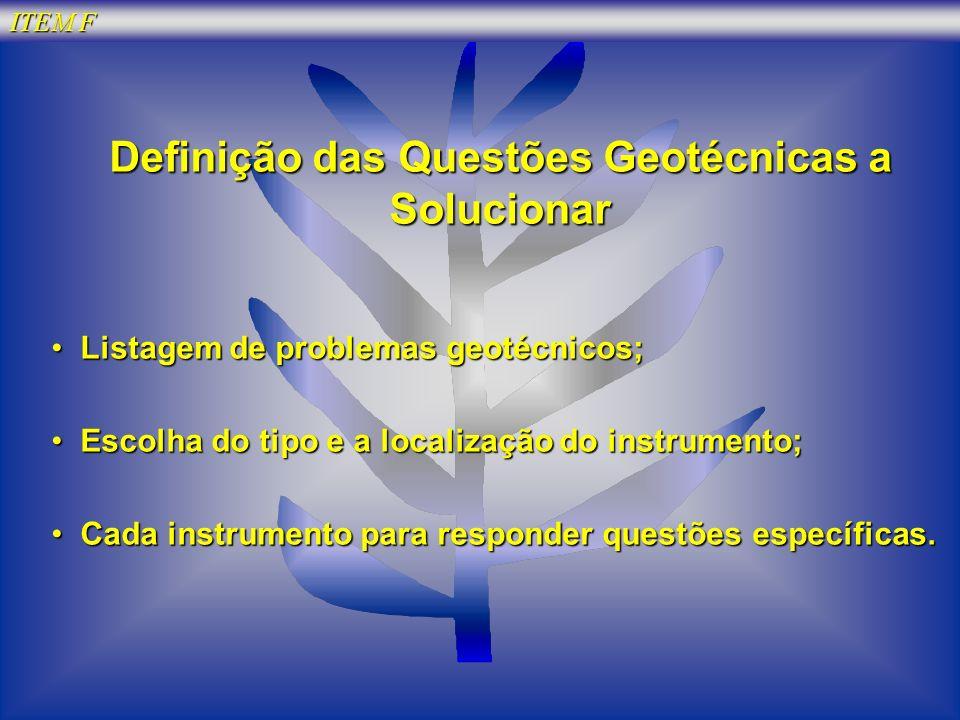 Definição das Questões Geotécnicas a Solucionar Listagem de problemas geotécnicos; Listagem de problemas geotécnicos; Escolha do tipo e a localização