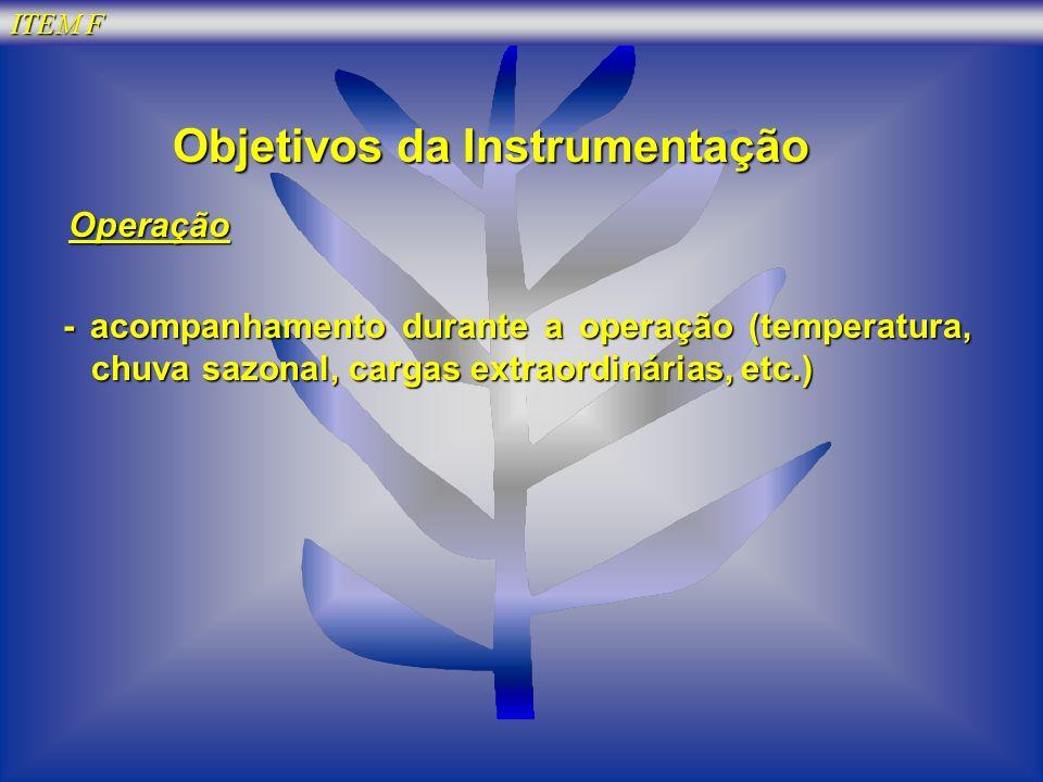 ITEM F Objetivos da Instrumentação Operação Operação - acompanhamento durante a operação (temperatura, chuva sazonal, cargas extraordinárias, etc.)
