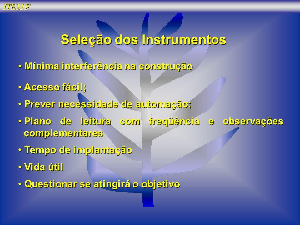 ITEM F Seleção dos Instrumentos Mínima interferência na construção Mínima interferência na construção Acesso fácil; Acesso fácil; Prever necessidade d