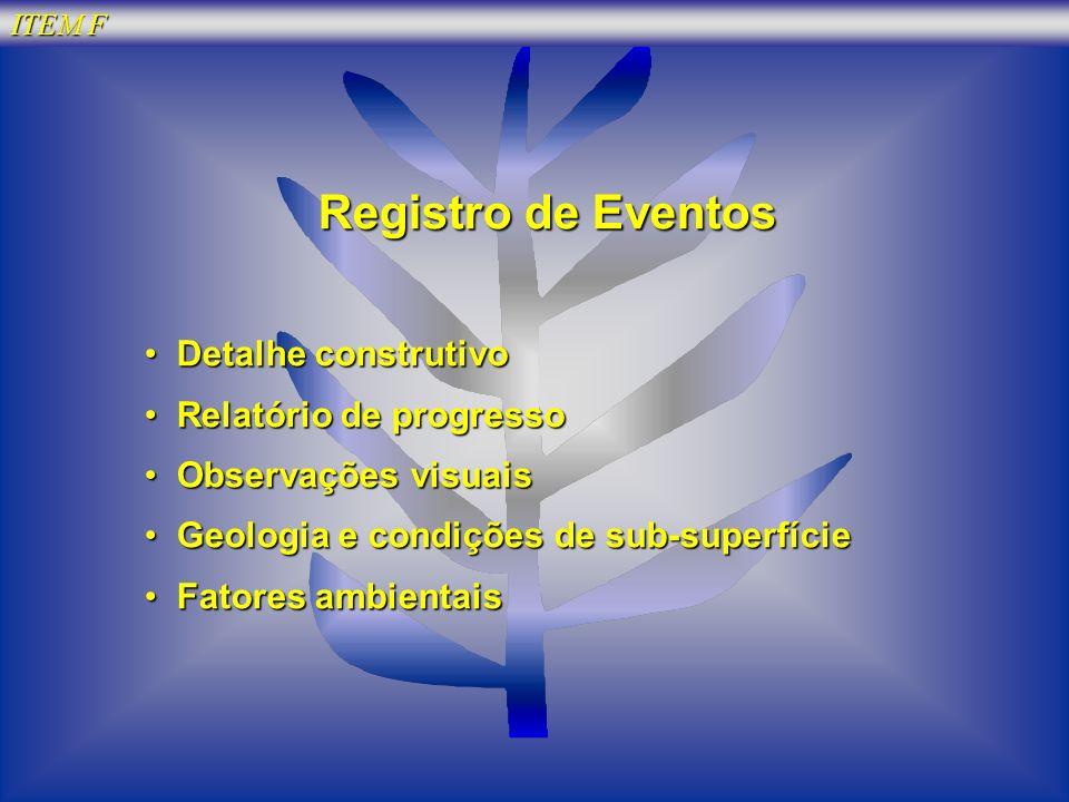 ITEM F Registro de Eventos Detalhe construtivo Detalhe construtivo Relatório de progresso Relatório de progresso Observações visuais Observações visua