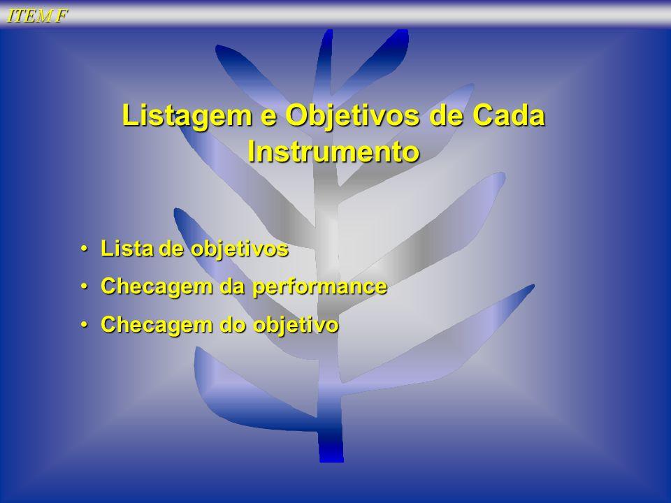 ITEM F Listagem e Objetivos de Cada Instrumento Lista de objetivos Lista de objetivos Checagem da performance Checagem da performance Checagem do obje