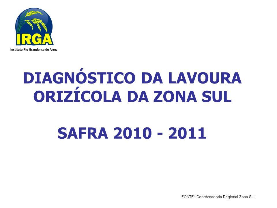 DIAGNÓSTICO DA LAVOURA ORIZÍCOLA DA ZONA SUL SAFRA 2010 - 2011 FONTE: Coordenadoria Regional Zona Sul