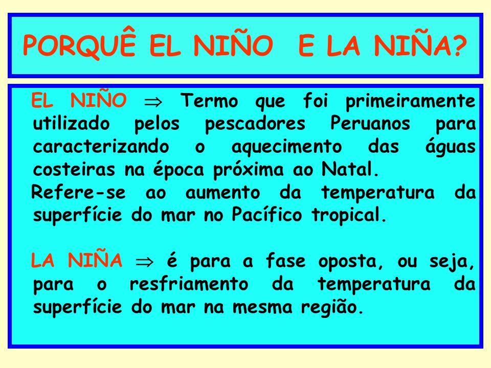 PORQUÊ EL NIÑO E LA NIÑA? EL NIÑO Termo que foi primeiramente utilizado pelos pescadores Peruanos para caracterizando o aquecimento das águas costeira