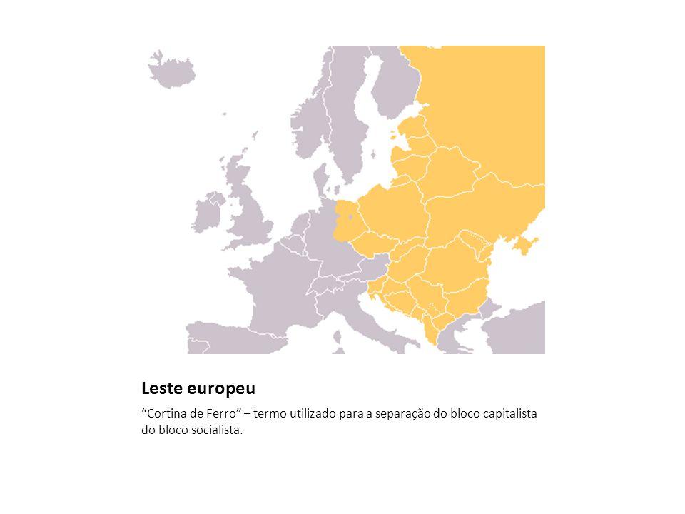 Leste europeu Cortina de Ferro – termo utilizado para a separação do bloco capitalista do bloco socialista.
