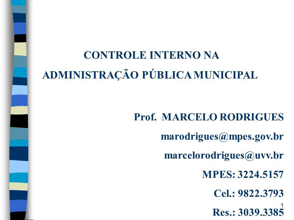 1 CONTROLE INTERNO NA ADMINISTRAÇÃO PÚBLICA MUNICIPAL Prof. MARCELO RODRIGUES marodrigues@mpes.gov.br marcelorodrigues@uvv.br MPES: 3224.5157 Cel.: 98
