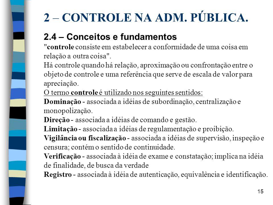 15 2 – CONTROLE NA ADM. PÚBLICA. 2.4 – Conceitos e fundamentos
