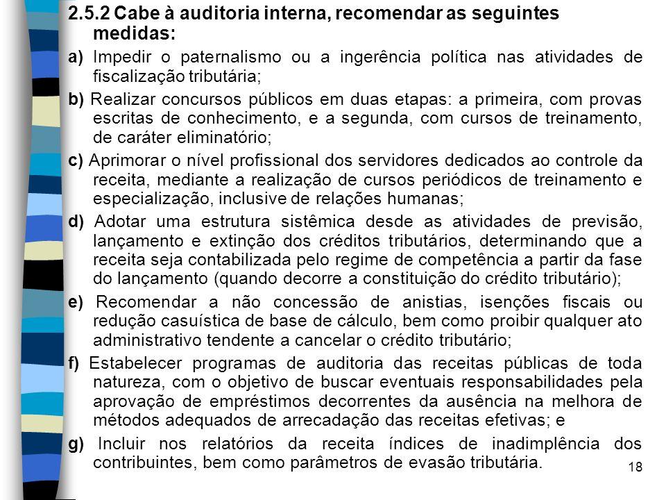 18 2.5.2 Cabe à auditoria interna, recomendar as seguintes medidas: a) Impedir o paternalismo ou a ingerência política nas atividades de fiscalização