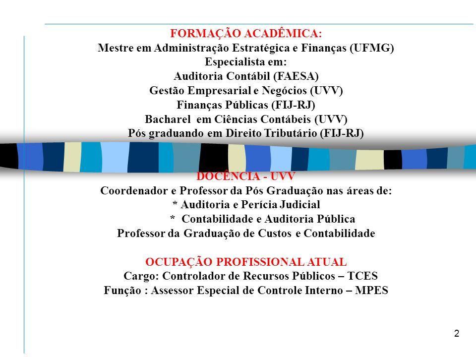 2 2 FORMAÇÃO ACADÊMICA: Mestre em Administração Estratégica e Finanças (UFMG) Especialista em: Auditoria Contábil (FAESA) Gestão Empresarial e Negócio