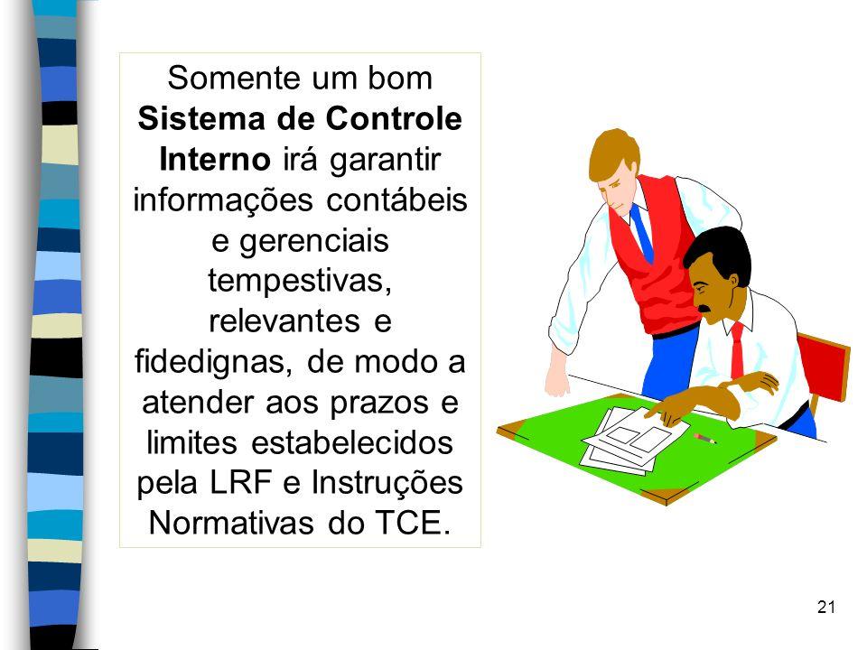 21 Somente um bom Sistema de Controle Interno irá garantir informações contábeis e gerenciais tempestivas, relevantes e fidedignas, de modo a atender