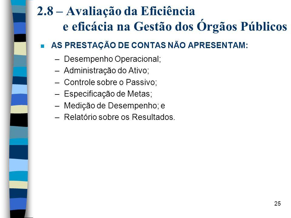 25 2.8 – Avaliação da Eficiência e eficácia na Gestão dos Órgãos Públicos n AS PRESTAÇÃO DE CONTAS NÃO APRESENTAM: –Desempenho Operacional; –Administr