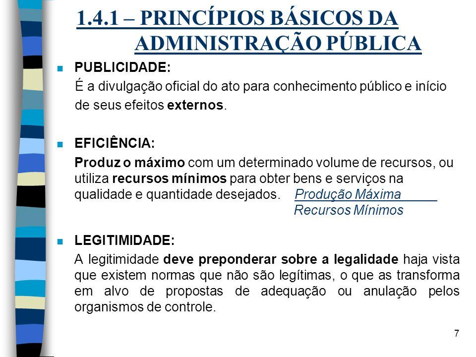 7 1.4.1 – PRINCÍPIOS BÁSICOS DA ADMINISTRAÇÃO PÚBLICA n PUBLICIDADE: É a divulgação oficial do ato para conhecimento público e início de seus efeitos