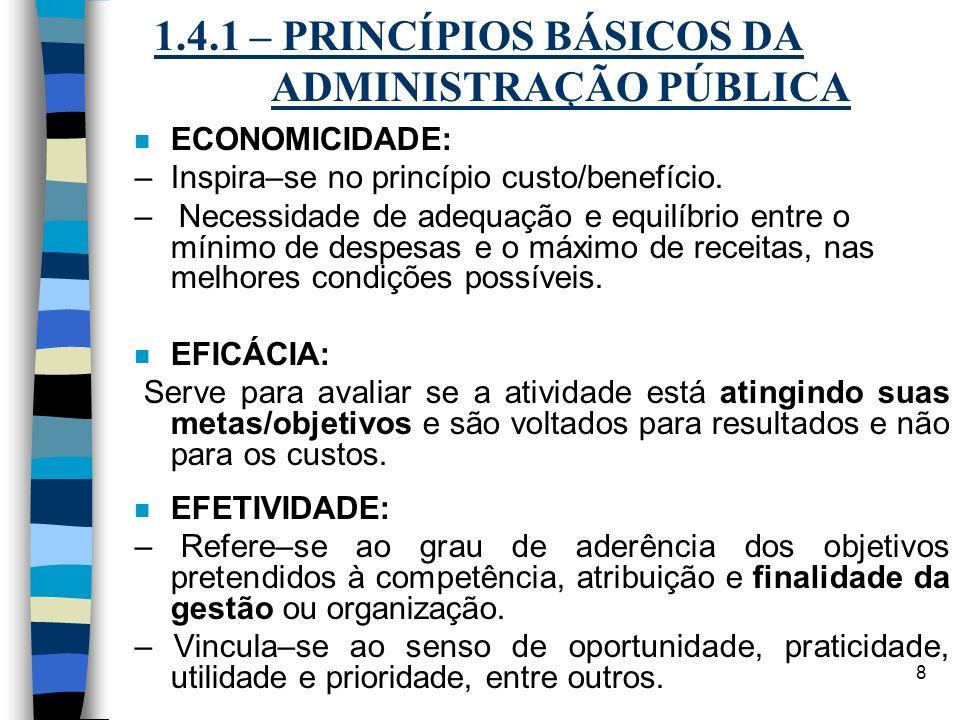 8 1.4.1 – PRINCÍPIOS BÁSICOS DA ADMINISTRAÇÃO PÚBLICA n ECONOMICIDADE: – Inspira–se no princípio custo/benefício. – Necessidade de adequação e equilíb