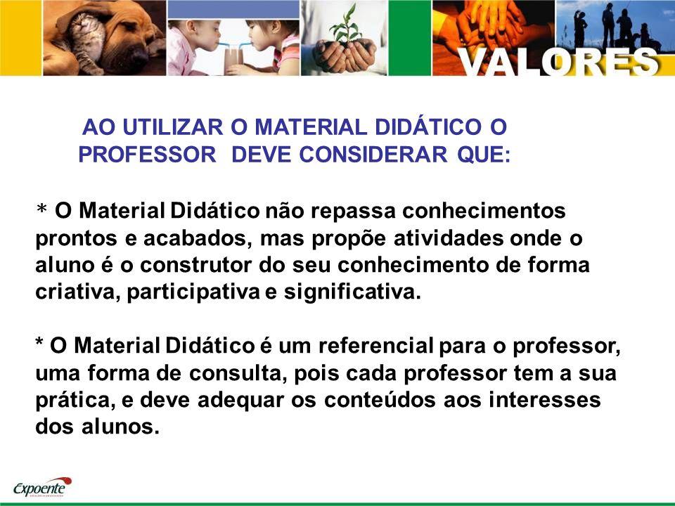 * O Material Didático não repassa conhecimentos prontos e acabados, mas propõe atividades onde o aluno é o construtor do seu conhecimento de forma cri
