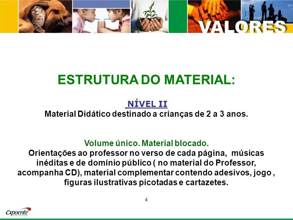 ESTRUTURA DO MATERIAL: NÍVEL II Material Didático destinado a crianças de 2 a 3 anos. Volume único. Material blocado. Orientações ao professor no vers