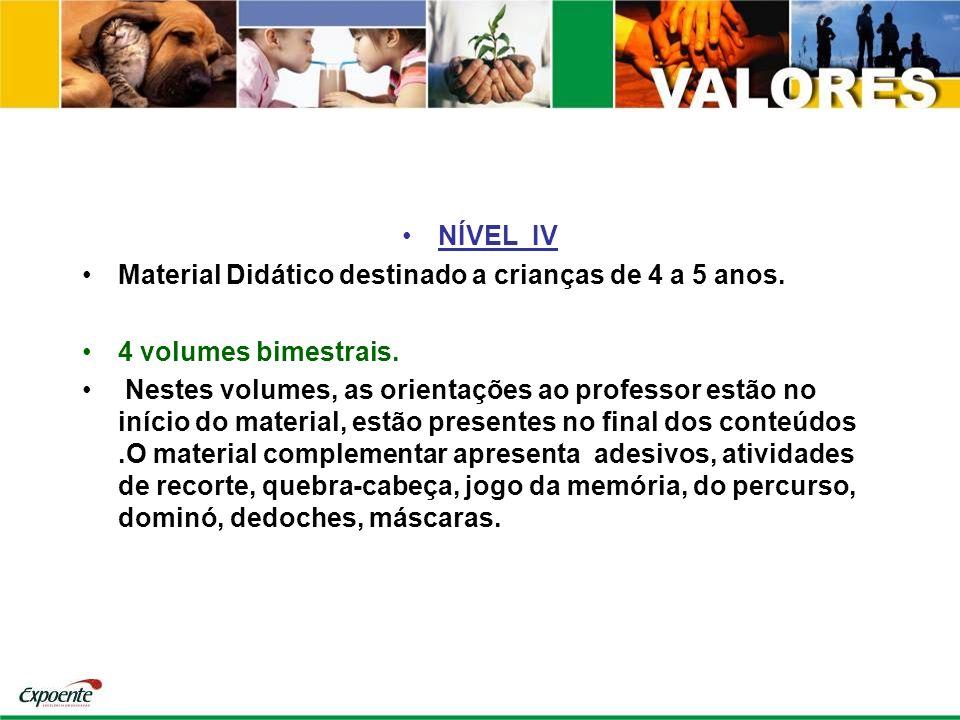NÍVEL IV Material Didático destinado a crianças de 4 a 5 anos. 4 volumes bimestrais. Nestes volumes, as orientações ao professor estão no início do ma