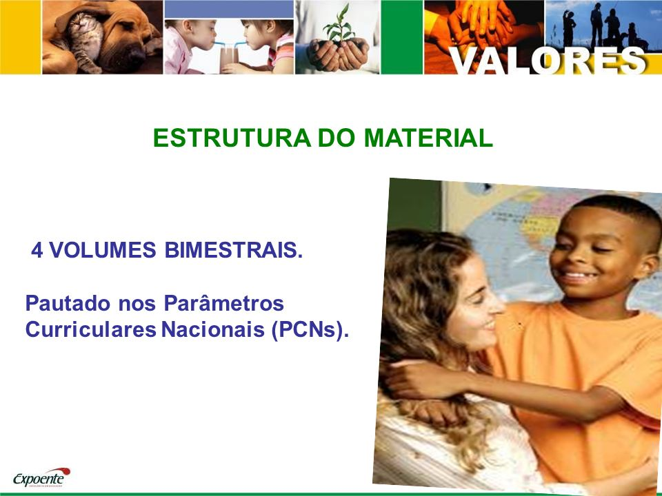ESTRUTURA DO MATERIAL 4 VOLUMES BIMESTRAIS. Pautado nos Parâmetros Curriculares Nacionais (PCNs).