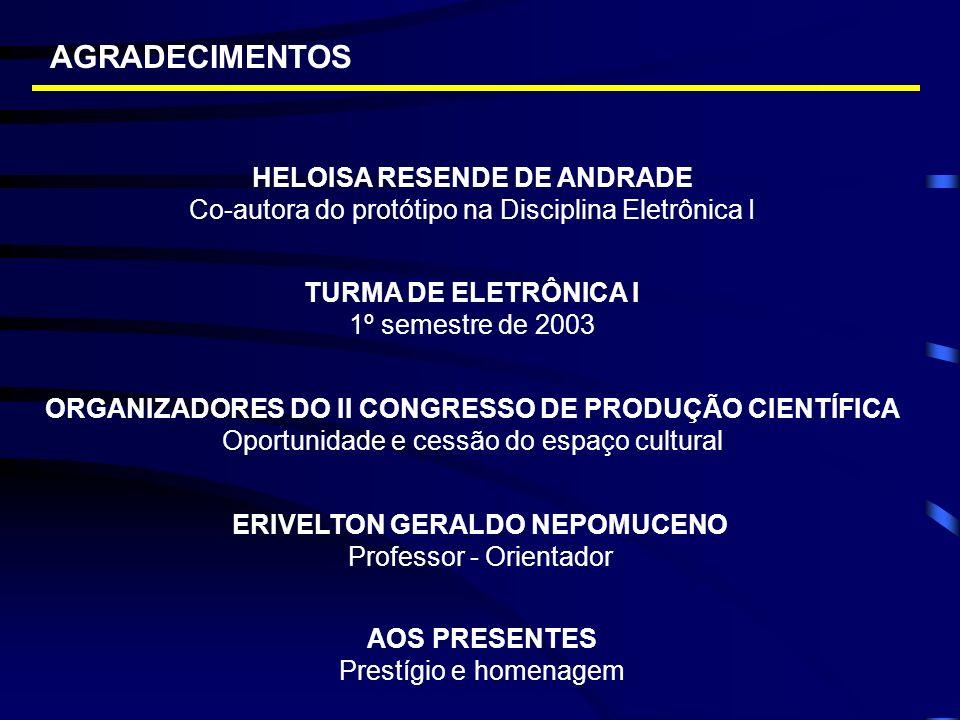 AGRADECIMENTOS ERIVELTON GERALDO NEPOMUCENO Professor - Orientador ORGANIZADORES DO II CONGRESSO DE PRODUÇÃO CIENTÍFICA Oportunidade e cessão do espaç
