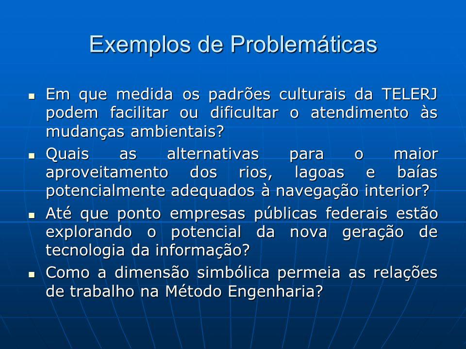 Exemplos de Problemáticas Em que medida os padrões culturais da TELERJ podem facilitar ou dificultar o atendimento às mudanças ambientais? Em que medi