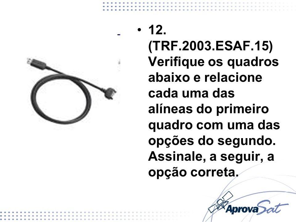 12. (TRF.2003.ESAF.15) Verifique os quadros abaixo e relacione cada uma das alíneas do primeiro quadro com uma das opções do segundo. Assinale, a segu