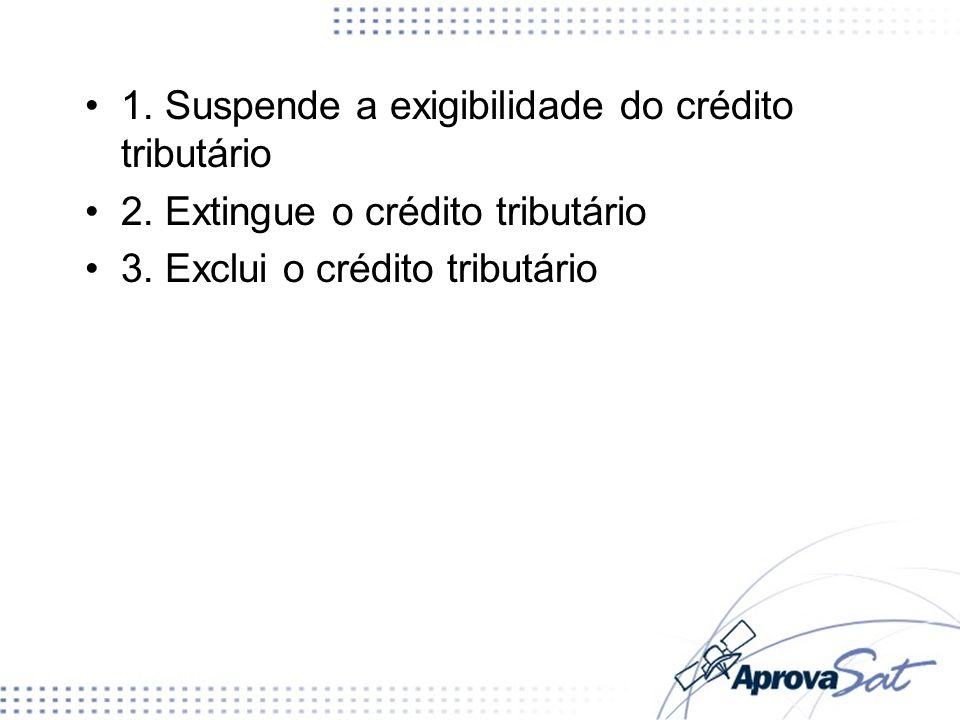 1. Suspende a exigibilidade do crédito tributário 2. Extingue o crédito tributário 3. Exclui o crédito tributário