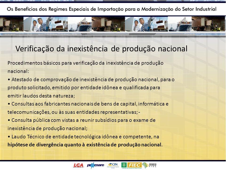 Verificação da inexistência de produção nacional Procedimentos básicos para verificação da inexistência de produção nacional: Atestado de comprovação