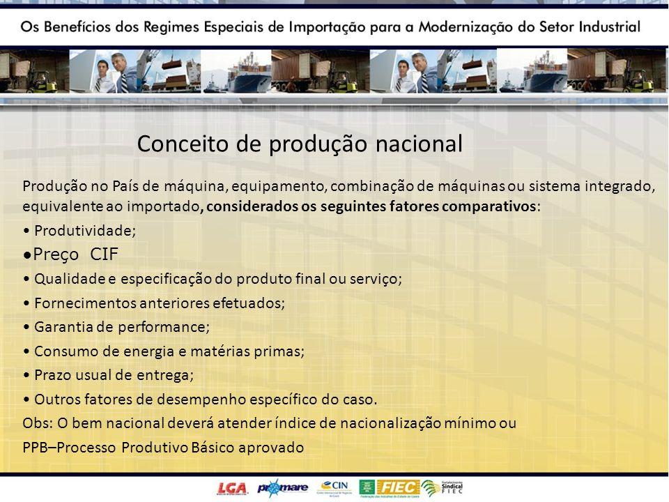 Conceito de produção nacional Produção no País de máquina, equipamento, combinação de máquinas ou sistema integrado, equivalente ao importado, conside