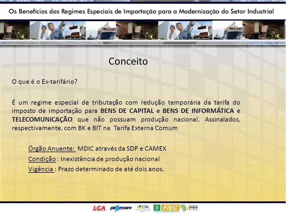 Conceito O que é o Ex-tarifário? É um regime especial de tributação com redução temporária da tarifa do imposto de importação para BENS DE CAPITAL e B
