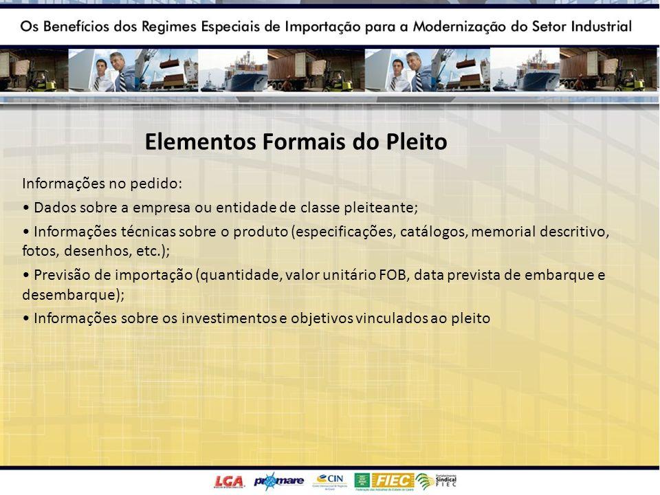 Elementos Formais do Pleito Informações no pedido: Dados sobre a empresa ou entidade de classe pleiteante; Informações técnicas sobre o produto (espec