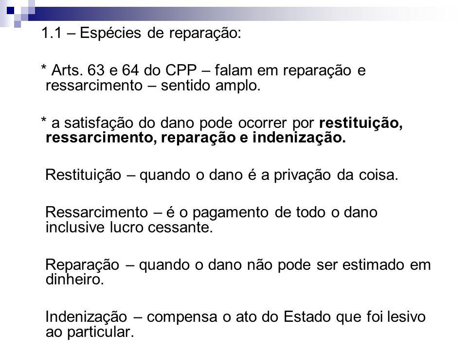1.1 – Espécies de reparação: * Arts. 63 e 64 do CPP – falam em reparação e ressarcimento – sentido amplo. * a satisfação do dano pode ocorrer por rest