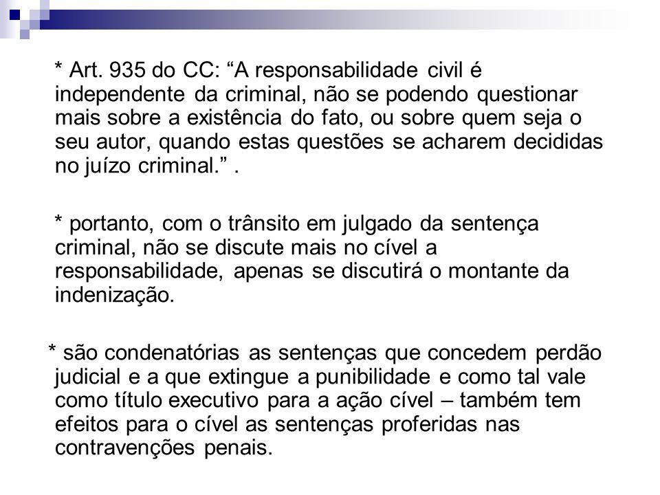 * Art. 935 do CC: A responsabilidade civil é independente da criminal, não se podendo questionar mais sobre a existência do fato, ou sobre quem seja o