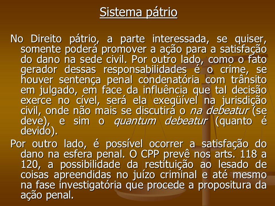 Sistema pátrio No Direito pátrio, a parte interessada, se quiser, somente poderá promover a ação para a satisfação do dano na sede civil. Por outro la