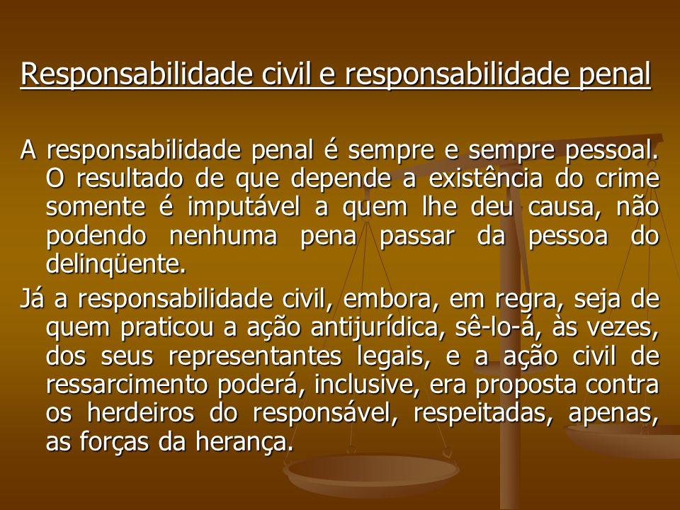 Responsabilidade civil e responsabilidade penal A responsabilidade penal é sempre e sempre pessoal. O resultado de que depende a existência do crime s