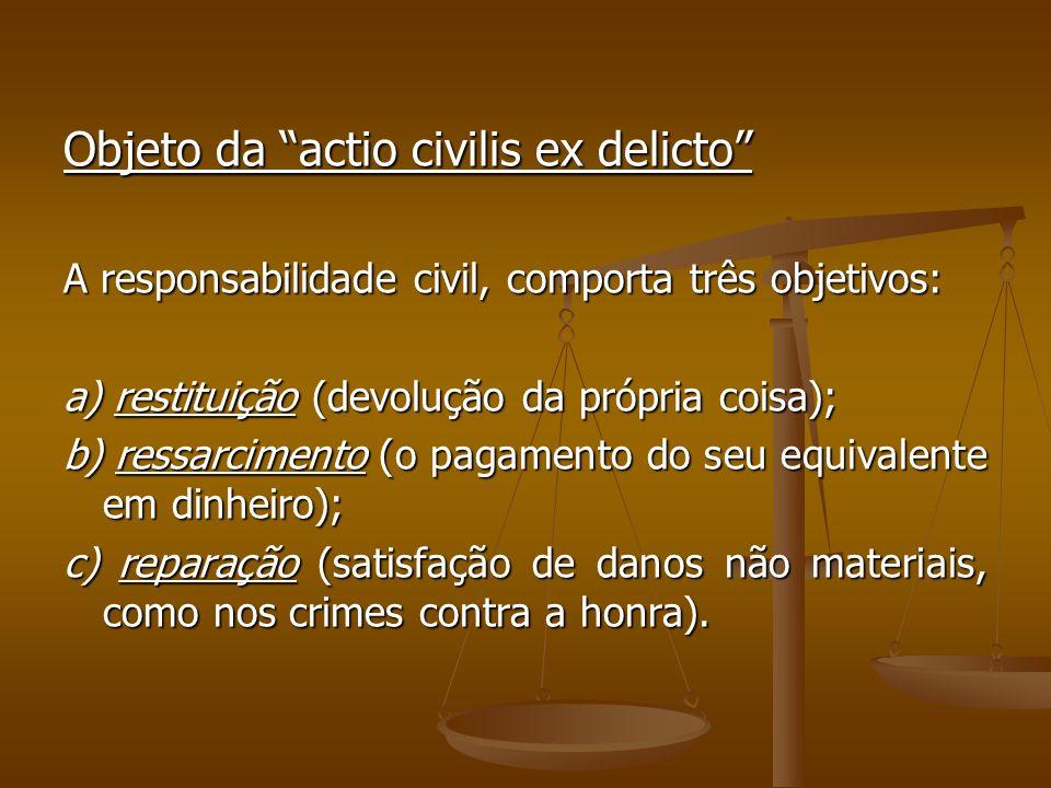 Objeto da actio civilis ex delicto A responsabilidade civil, comporta três objetivos: a) restituição (devolução da própria coisa); b) ressarcimento (o