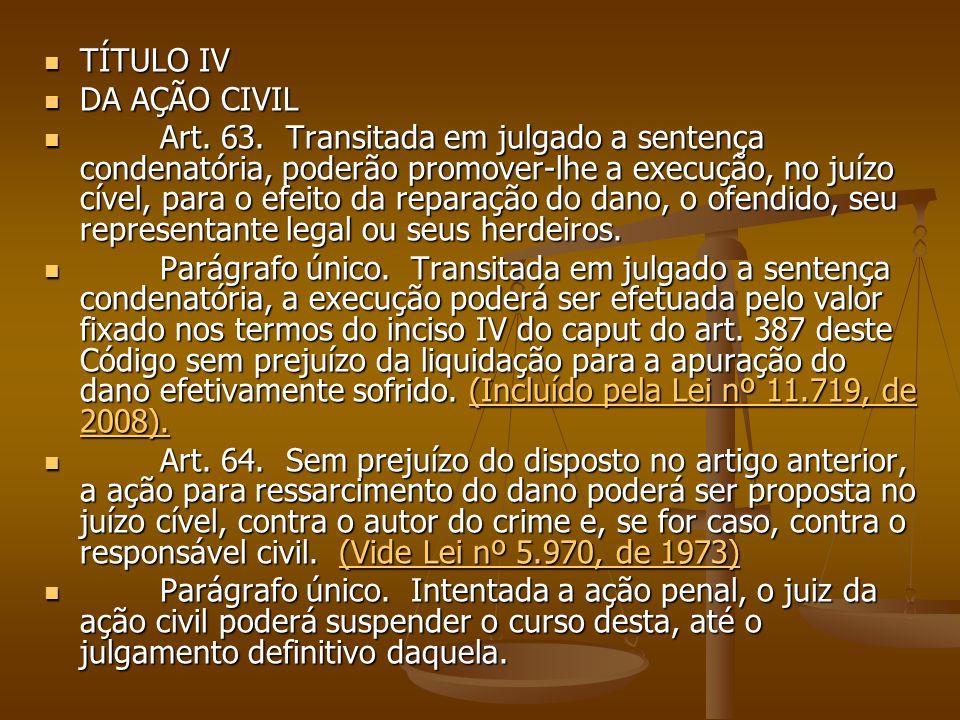 TÍTULO IV TÍTULO IV DA AÇÃO CIVIL DA AÇÃO CIVIL Art. 63. Transitada em julgado a sentença condenatória, poderão promover-lhe a execução, no juízo cíve