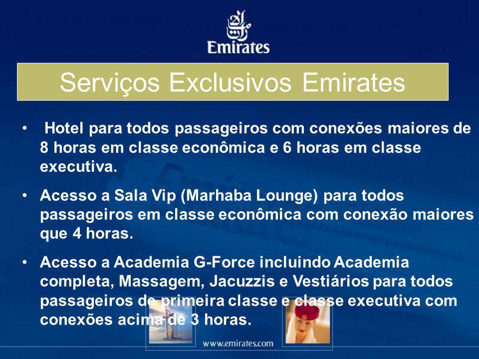 Serviços Exclusivos Emirates Hotel para todos passageiros com conexões maiores de 8 horas em classe econômica e 6 horas em classe executiva. Acesso a