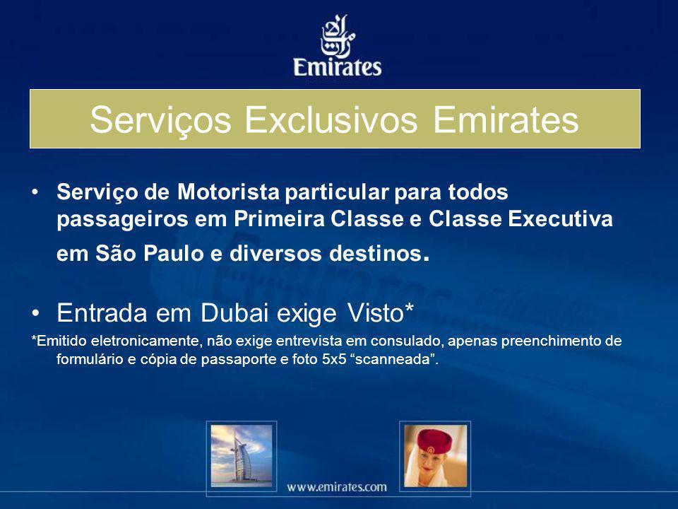 Serviço de Motorista particular para todos passageiros em Primeira Classe e Classe Executiva em São Paulo e diversos destinos. Entrada em Dubai exige