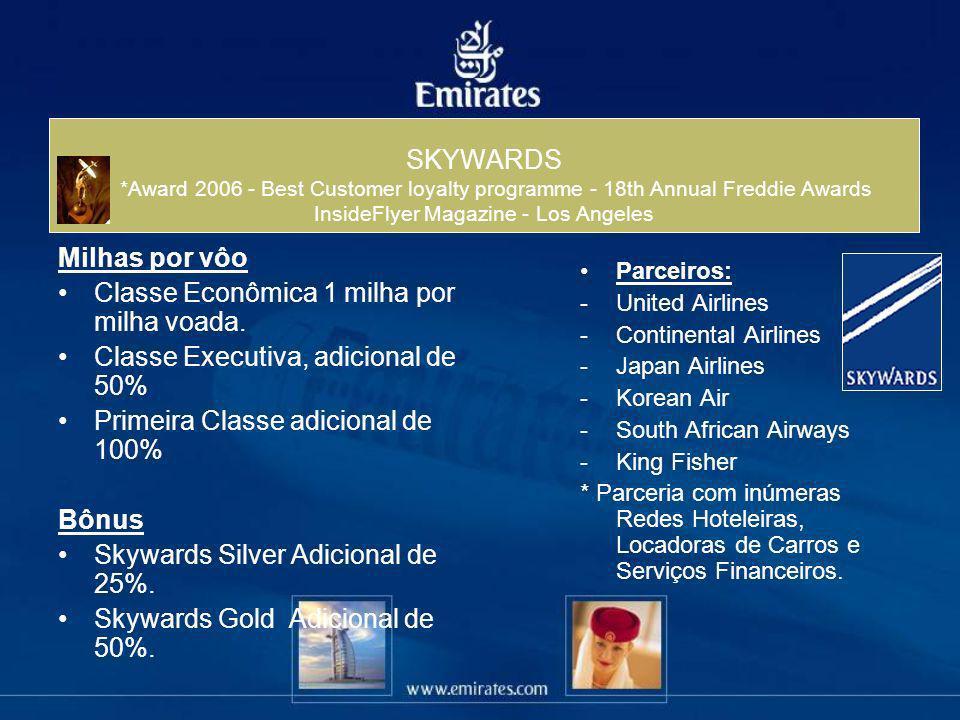 SKYWARDS *Award 2006 - Best Customer loyalty programme - 18th Annual Freddie Awards InsideFlyer Magazine - Los Angeles Milhas por vôo Classe Econômica
