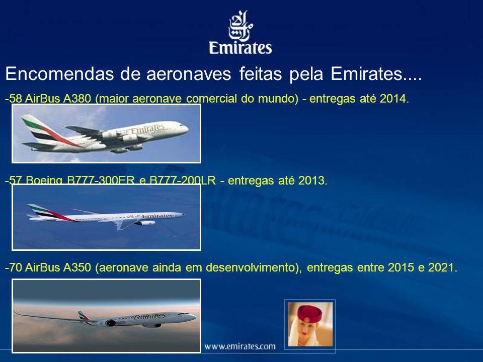 Encomendas de aeronaves feitas pela Emirates.... -58 AirBus A380 (maior aeronave comercial do mundo) - entregas até 2014. -57 Boeing B777-300ER e B777