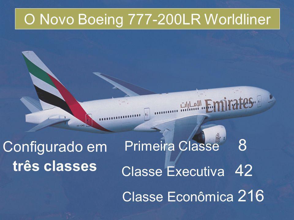 Configurado em três classes Primeira Classe 8 Classe Executiva 42 Classe Econômica 216 O Novo Boeing 777-200LR Worldliner