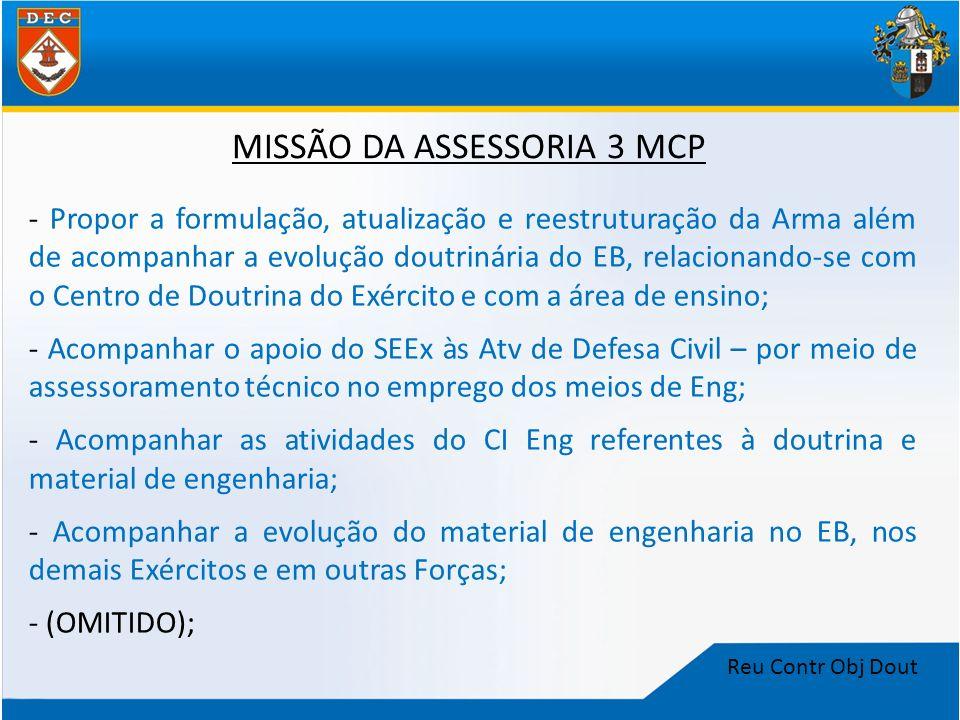 Reu Contr Obj Dout MISSÃO DA ASSESSORIA 3 MCP - Propor a formulação, atualização e reestruturação da Arma além de acompanhar a evolução doutrinária do